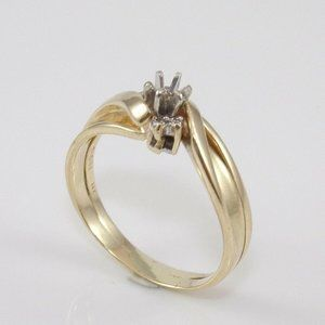 14K Gold Natural Diamond Ring Size 9